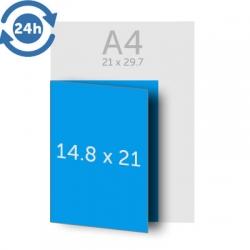 Dépliant A4 (21x29.7 cm) ouvert A5 (21x14.8 cm) fermé, 1 pli, 135g EXPRESS