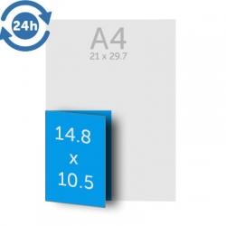 Dépliant A5 (21 x 14.8 cm) ouvert A6 (10.5 x 14.8 cm) fermé, 1 pli, 135g EXPRESS