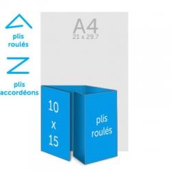 Dépliant 53x15 cm plié en 10x15 cm, 4 plis roulés ou 4 plis accordéons