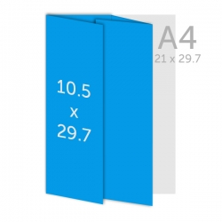 Dépliant  29.7 x 10.5 cm - plis roulés