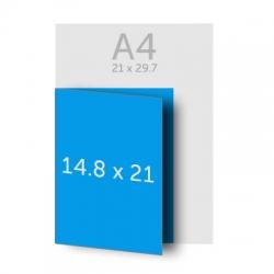 Dépliant (A4) 21 x 29.7 cm ouvert (A5) 14.8 x 21 cm fermé, pelliculage