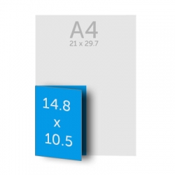 Dépliant (A5) 14.8 x 21 cm ouvert (A6) 10.5 x 14.8 cm fermé, pelliculage