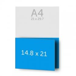 Dépliant 42 x 14.8 cm ouvert (A5) 21 x 14.8 cm fermé,  pelliculage