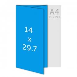 Dépliant A3(42 x 29.7 cm) ouvert 14 x 29.7 cm fermé, pelliculage