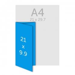 Dépliant A4 (21 x 29.7cm) ouvert 21 x 9.9 cm fermé, pelliculage