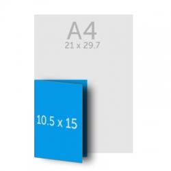 Brochure A5 (21 x 15 cm) pliée en A6 (10.5 x 15 cm)