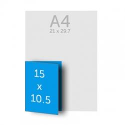Brochure A5 (21 x 15 cm) pliée en A6 (10.5 x 15 cm) 135g, 36 pages, couverture dos collé