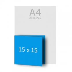 Brochure 30 x 15 cm pliée en 15 x 15 cm, 135g, 36 pages, couverture dos collé