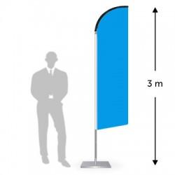Drapeau forme droite hauteur 3 m