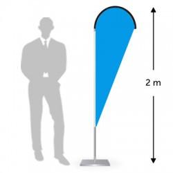Drapeau forme goutte hauteur 2 m