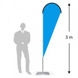 Drapeau forme goutte hauteur 3 m