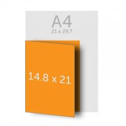 Dépliant (A4) 21 x 29.7 cm ouvert  (A5) 14.8 x 21 cm fermé, vernis selectif