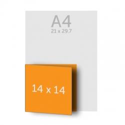 Dépliant 14 x 28 cm ouvert 14 x 14 cm fermé, 1 pli, vernis selectif
