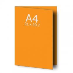 Dépliant (A3) 42 x 29.7 cm ouvert (A4) 21 x 29.7 cm fermé, 1 pli, vernis selectif