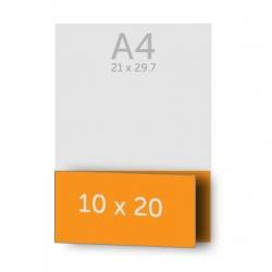 Dépliant 10 x 40 cm plié en 10 x 20 cm 1 pli, vernis selectif