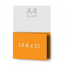Dépliant 42 x 14.8 cm ouvert (A5) 21 x 14.8 cm fermé, 1 pli, vernis selectif