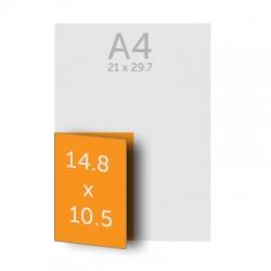 Dépliant (A5) 14.8 x 21 cm ouvert (A6) 10.5 x 14.8 cm fermé, 1 pli, vernis selectif
