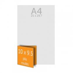 Dépliant 10 x 28.5 cm ouvert 10 x 9.5 cm fermé, 2 plis roulés, vernis selectif