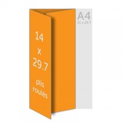 Dépliant A3(42 x 29.7 cm) ouvert 14 x 29.7 cm fermé, 2 plis, vernis selectif