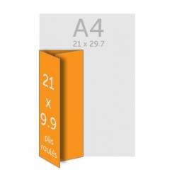 Dépliant A4 (21 x 29.7cm) ouvert 21 x 9.9 cm fermé, 2 plis roulés, 350g, vernis selectif